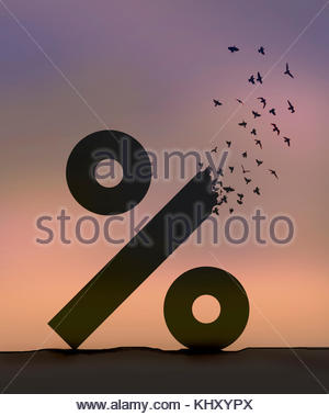 Flock of birds flying away from breaking up percentage sign - Stock Image