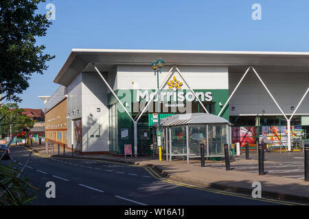 Exterior of Morrisons supermarket in Woking, Surrey, south-east England, UK (Wm Morrison Supermarkets plc) - Stock Image