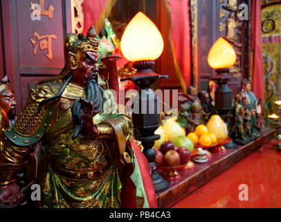 Incense and religious objects in the Tin Hau temple in Tai O fishing village in Lantau island, Hong Kong, China - Stock Image