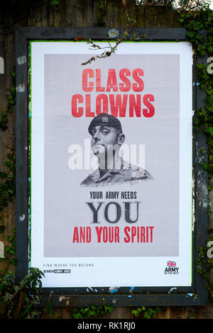 British army recruitment poster 'Class Clowns Your Army Needs You And Your Spirit' on display at Cardiff University campus Wales UK  KATHY DEWITT - Stock Image