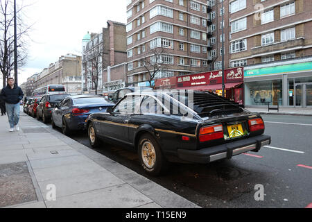 classic Datsun 280 ZX Sports car parked on Edgeware Road, London, England, UK - Stock Image