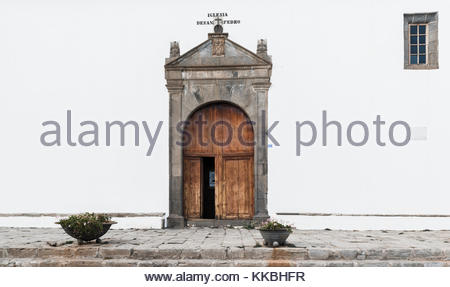 The old historic Iglesia de San Pedro (church of St Peter) in the village of Vilaflor, Tenerife, Canary Islands, - Stock Image