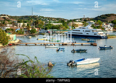 Ferry Terminal, Vieques II ferry and fishing boats, Isabel Segunda, Vieques, Puerto Rico - Stock Image