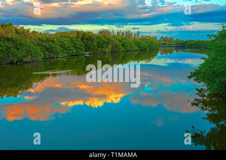 Sunset by Bowman's Beach Florida - Stock Image