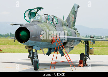 Croatian Air Force MiG-21 UMD trainer, Pleso AFB during 'open day' visit in 2007 - Stock Image
