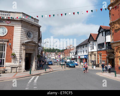 Newtown town centre, looking towards Broad Street.  Powys Wales UK. - Stock Image