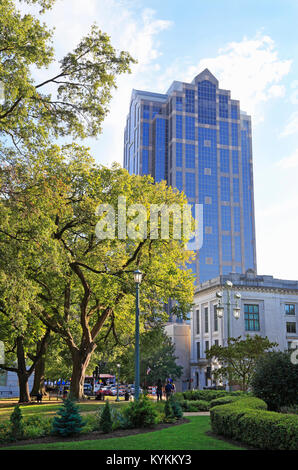 Raleigh downtown, North Carolina. Wells Fargo bank building seen from the Capitol grounds. - Stock Image