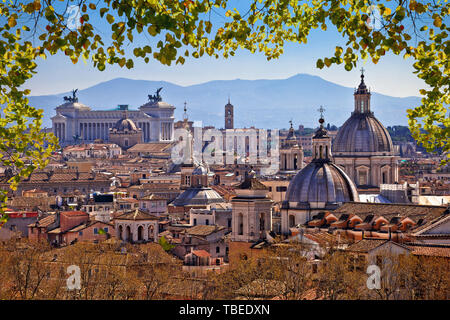 Eternal city of Rome landmarks an rooftops skyline view, capital of Italy - Stock Image