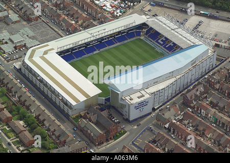 Aerial view of Everton Football Club in Liverpool also known as Goodison Park, home to the Toffees or Toffeemen and the Blues - Stock Image