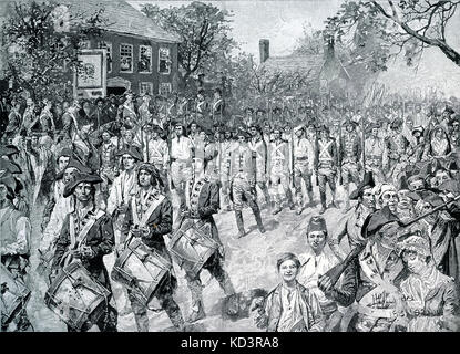 Continental army marching down Old Bowery, New York, 25 November 1783. Washington's forces take posession of - Stock Image