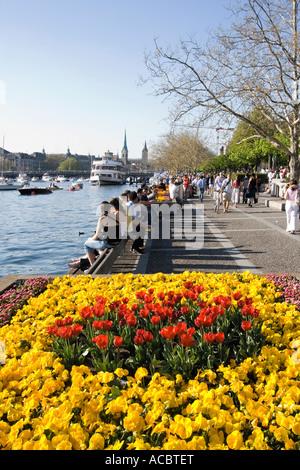 Switzerland Zurich lake promenade spring Zuerich Seepromenade - Stock Image