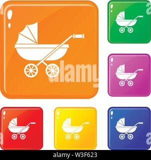 Baby carriage icons set vector color - Stock Image
