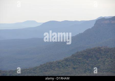 KATOOMBA, Australia - Ridges of the Blue Mountains as seen from Echo Point in Katoomba, New South Wales, Australia. - Stock Image
