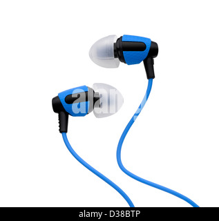 A pair of blue bud headphones cut out o a white background - Stock Image