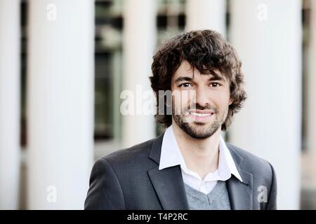 Young man with beard, portrait, North Rhine-Westphalia, Germany - Stock Image