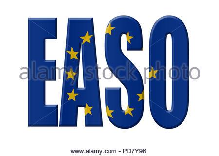 Digital Illustration - EU agency. EASO European Asylum Support Office, Europäisches Unterstützungsbüro für Asylfragen - Stock Image
