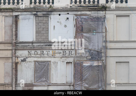 North British Station Hotel ghost sign, Glasgow (sign uncovered by demolition of adjacent building during Queen Street rennovations) - Stock Image