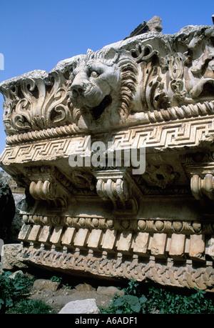 Lebanon Baalbek Roman Ruins Lion Capping Stone - Stock Image