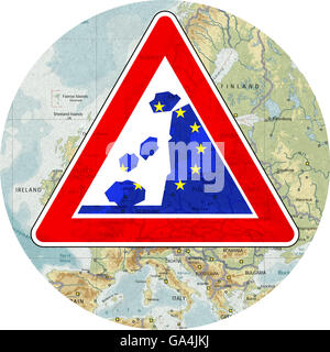 Risk of disintegration of the EU, warning signs, warning decay, withdrawal from the European Union EU - Stock Image