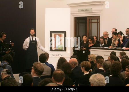 London UK. 19th June 2019. 'Le grand matin ' by René Magrite , gouache on paper , Estimate £1,500,000 sold at hammer for £2,500,000  at the Impressionist & Modern Art Evening Auction  at Sotheby's London Credit: amer ghazzal/Alamy Live News - Stock Image
