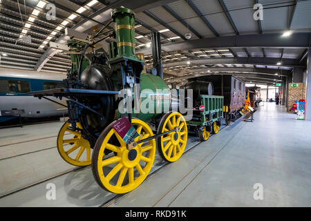 """""""Sans Pareil"""" steam locomotive built by Timothy Hackworth in 1829, this replica was built in 1980 for the 150th anniversary of the Rainhill trials - Stock Image"""
