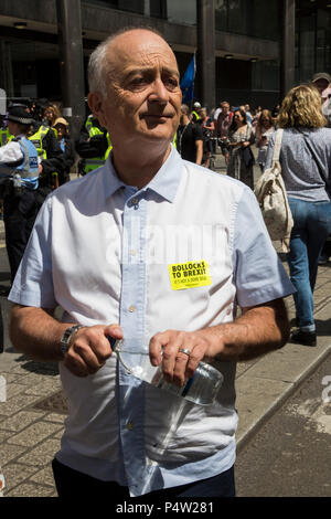 London, UK. 23 June 2018.Anti-Brexit march and rally for a People's Vote in Central London. Sir Tony Robinson. - Stock Image