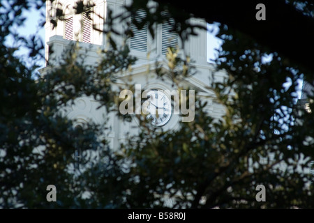 background blue church clock contrast focus focus foreground green louver nature new of Orleans out time tower tree - Stock Image