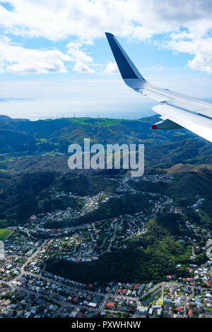 New Zealand's North Island, aerial view from commercial airplane inlcuding segement of aircraft's wing - Stock Image