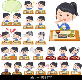 A set of women in sportswear about meals.Japanese and Chinese cuisine, Western style dishes and so on.It's vector art so it's easy to edit. - Stock Image