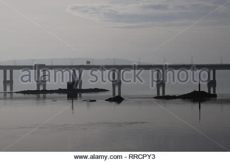Fowler Rock and Beacon Rock and Tay Road bridge at low tide Dundee Scotland February 2019 - Stock Image