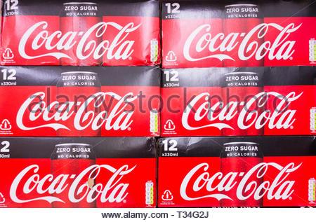 Coca-Cola Zero Sugar No Calories 12 pack on a supermarket shelf in the UK - Stock Image