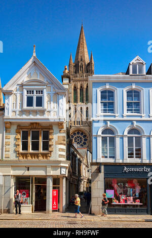 12 June 2018: Truro, Cornwall, UK - Shops and people in Boscawen Street, with a view through to the cathedral. - Stock Image