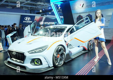 Greater Noida, India. 14th February 2018. Hyundai RN30 concept car is on display at the Auto Expo 2018 in Greater - Stock Image