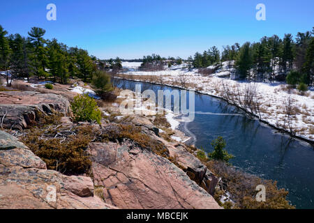 Scenic landscape view from Chikanishing Trail in Killarney Provincial Park - Stock Image