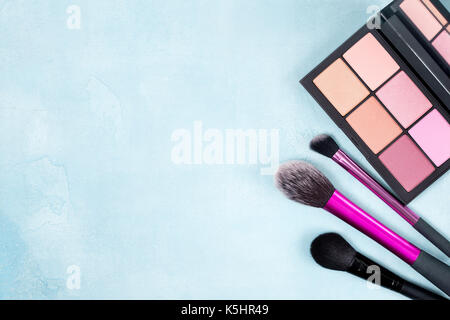 Palette of blush and brush for makeup on a blue background. view from above - Stock Image