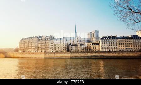 Notre Dame of Paris and River Seine, Ile de France, Paris, France - Stock Image