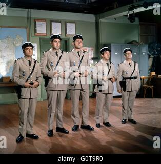 Michel Modo, Guy Grosso, Christian Marin, Jean Lefebvre and Louis de Funès / The Troops get Married / 1968 - Stock Image