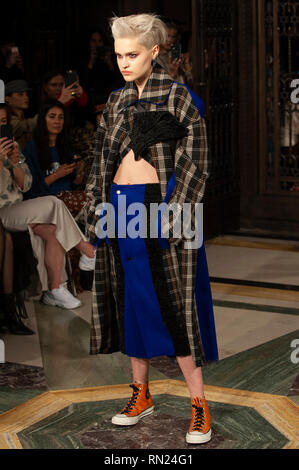 London, UK. 16th Feb 2019. London Fashion Week: Jolin Wu's AW19 show took place today at Fashion Scout, Freemason's Hall, Covent Garden, London, UK. Having graduated from  Central St. Martins College of Art and Design, Jolin formed her label in 2009. 16th February 2019. Credit: Antony Nettle/Alamy Live News - Stock Image