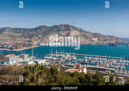 Views of the commercial harbor and touristic dock of Cartagena, in the province of Murcia, Spain. - Stock Image
