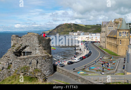 Aberystwyth promenade from the castle, a seaside town in Ceredigion, Wales UK - Stock Image