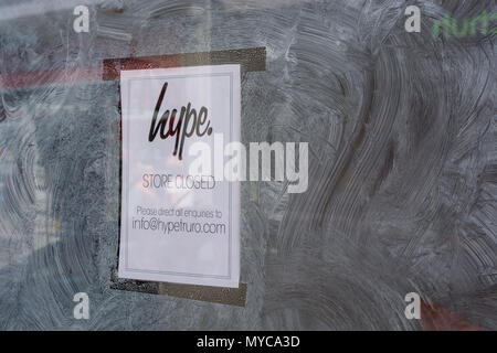 Vacant shop premises (Truro) which were home to a shop of the Hype clothing chain. - Stock Image