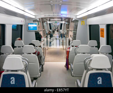 Inside a carriage on the Airport Express Line between Indira Ghandi International Airport and Delhi - Stock Image