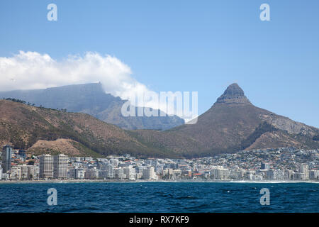 Properties on Seaside With Lions Head Behind in Cape Town, South Africa - Stock Image