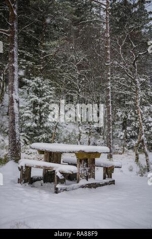 Picnic table, Mount Floyen, Bergen, Norway. - Stock Image