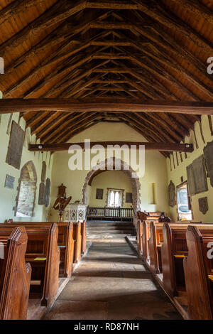 Interior of St Martin's church, Cwmyoy, known as the 'Crooked Church', near Abergavenny, Monmouthshire, Wales, UK - Stock Image