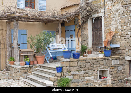 Impressions And Details From The Small Istrian Village Of Oprtali - Stock Image