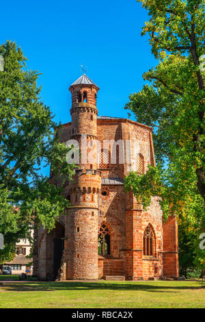 10th century Old tower, oldest religious building at the Saarland, Mettlach, Saarland, Germany - Stock Image