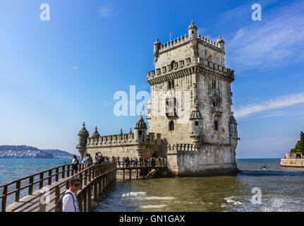 Belem Tower is a fortified tower located in the civil parish of Santa Maria de Belem in Lisbon, Portugal - Stock Image