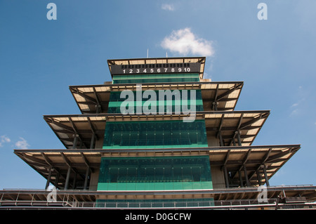 USA, Indiana, Indianapolis Motor Speedway, control tower pagoda during off season scene of the annual Indy 500 car - Stock Image