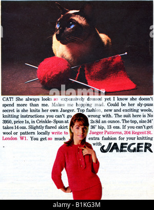 1965 Magazine Advertisement for Jaeger Knitting Wools and Patterns FOR EDITORIAL USE ONLY - Stock Image